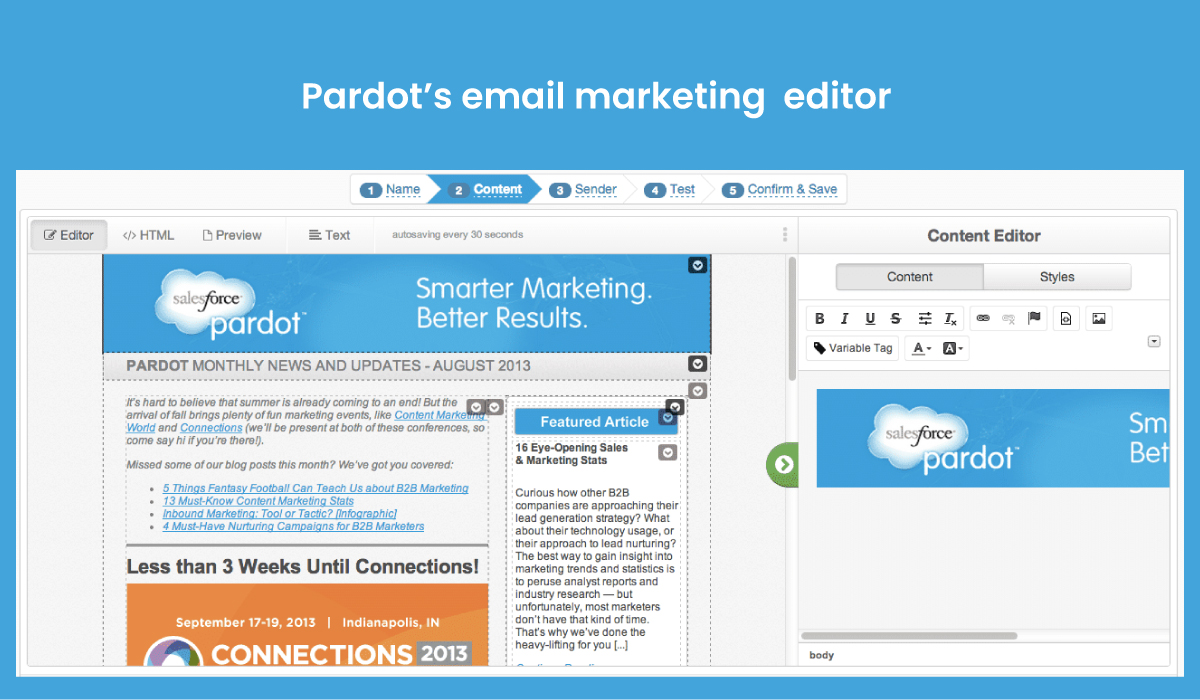 Pardot - email marketing editor