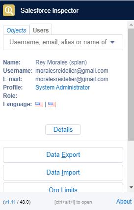 Salesforce Inspector User Tab