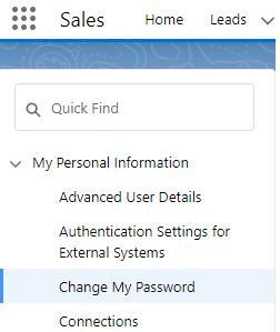 Changing password on Salesforce