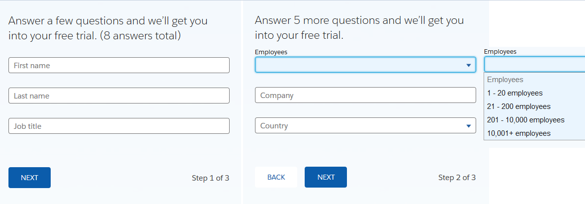 Salesforce - Free Trial Questions