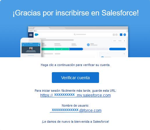 Gracias por inscribirse en Salesforce