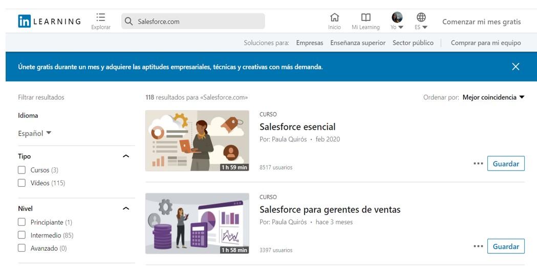 Salesforce Page in LinkedIn - Interface