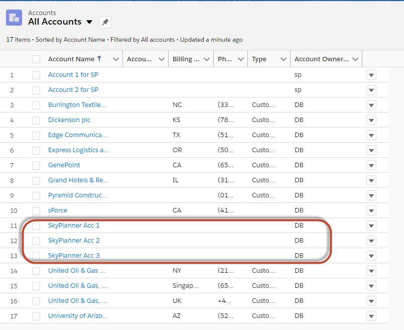 Salesforce Troubleshooting - Accounts from the same user