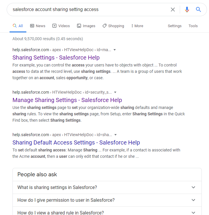 Salesforce Troubleshooting - Google results