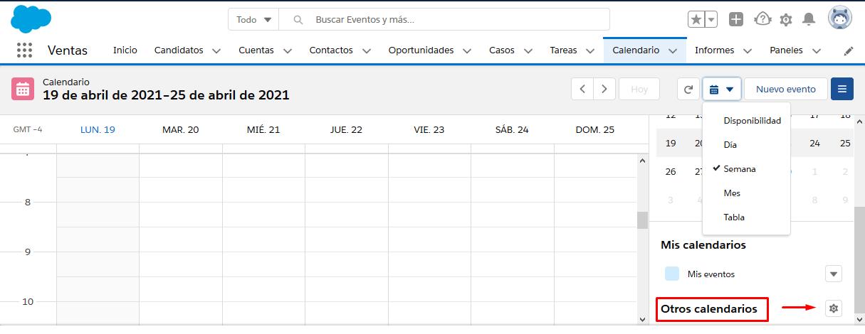 Calendario en Salesforce