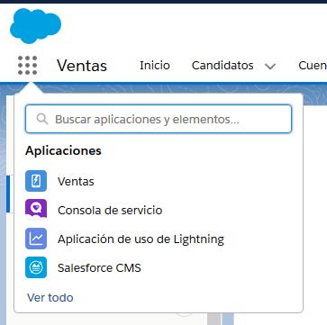 Menú de Aplicaciones en Salesforce