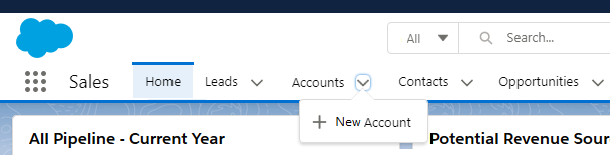 New Account in Salesforce