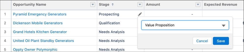 Salesforce Inline Editing